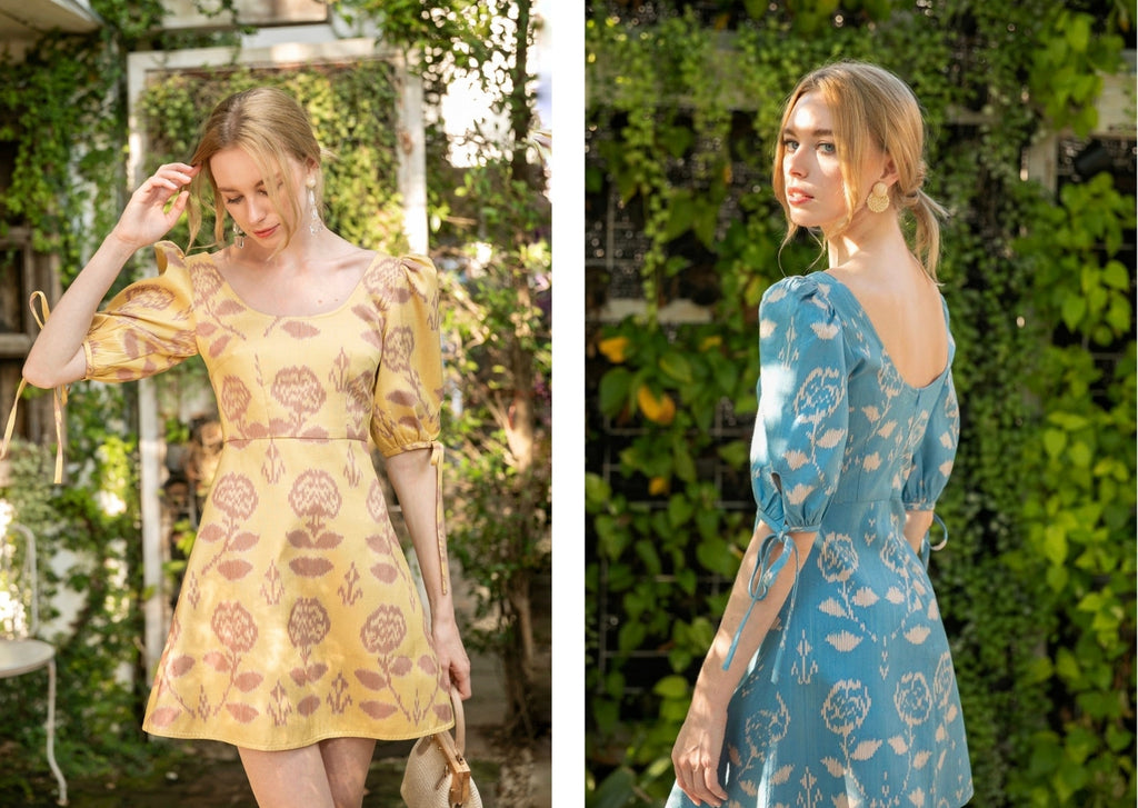 Two images of model wearing the handmade pure silk ikat mini dress in two colours, mellow yellow and sky blue. The dresses are made from handwoven ikat fabric