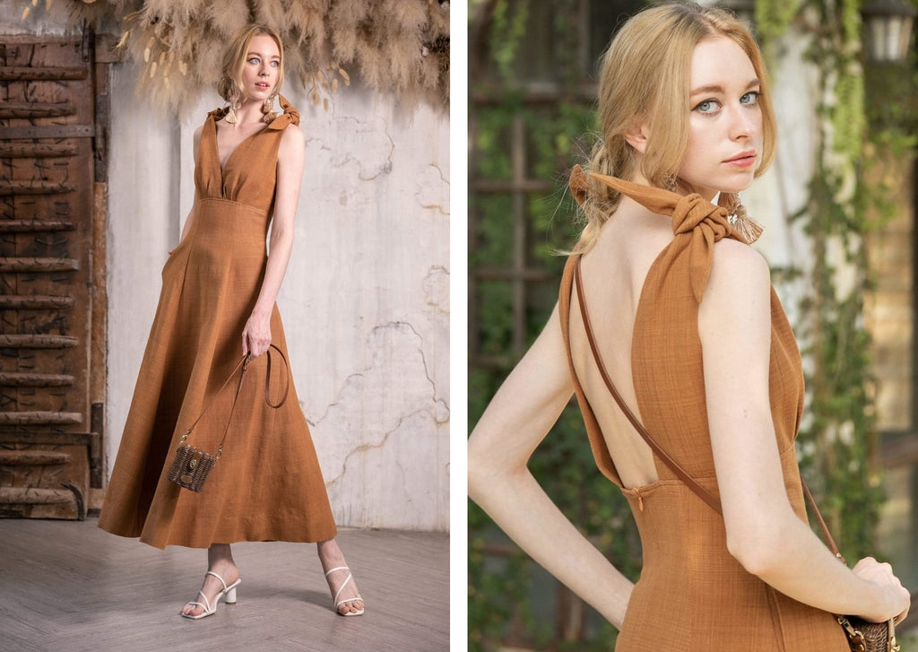 Natural dyed, sustainable cotton, ethical Cherrada Dress in Burnt Sienna