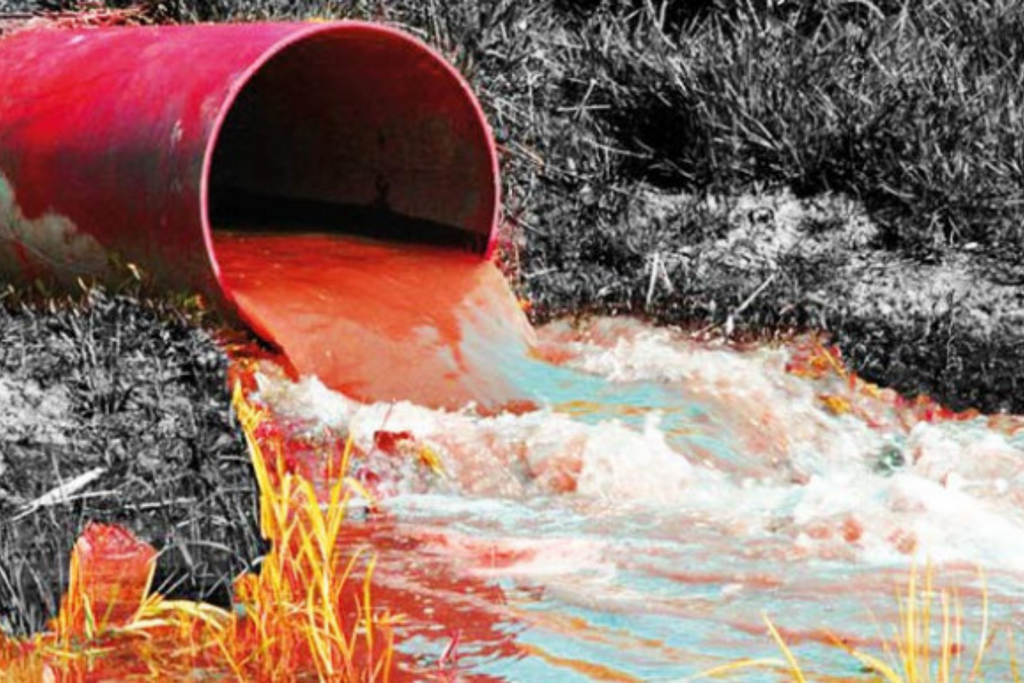 Polluted River from Synthetic Dyes