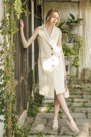 Full body image of model wearing Hand-spun Sustainable Cotton Blazer Dress from undyed naturally grown cotton