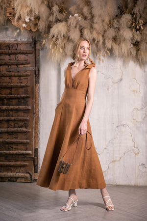Full body image of the Handmade Sustainable Cotton Midi Dress in Burnt Sienna by Rare & Fair