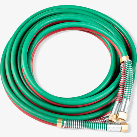 "SPARC 1/4"" B Fittings Oxy Acetylene Grade T Welding Hose + Strain Relief Set 50FT"