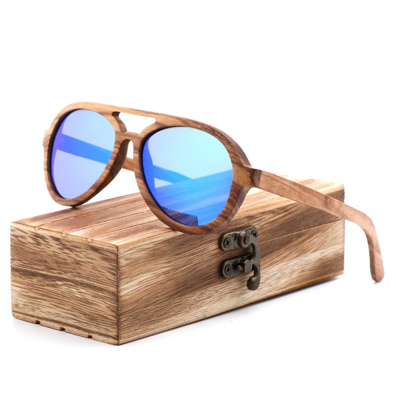 6a20983a1d Wooden Sunglasses Polarized Frog Mirrored With Bamboo or Wood Shades Retro  Case