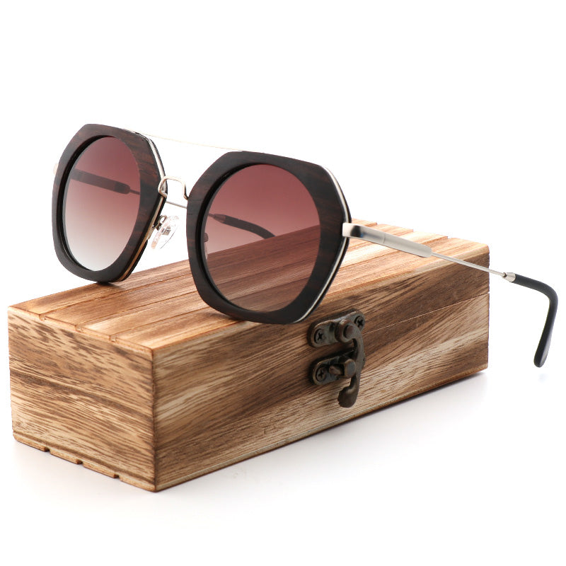 6e4fe224be ... Retro Designer Sunglasses Polarized Handmade Wooden Luxury With Metal  Frame and Bamboo Case ...