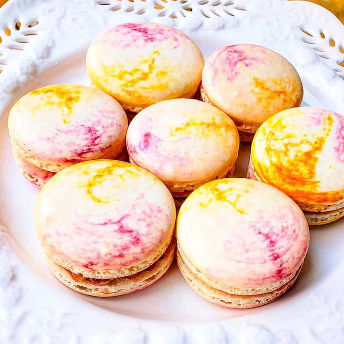 Fushcia & Yellow Swirl Macarons by Sugardust & Sprinkles