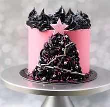 Pink & Black Christmas Cake by Find your Cake Inspiration