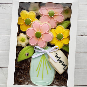 Mother's Day Mason Jar with Flowers Cookies Supplies & Tutorial by Laura's Cookie Studio