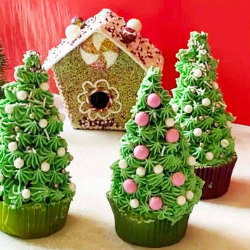 Buttercream Christmas Tree Cupcakes Supplies & Tutorial by Chahrazad's Cuisine