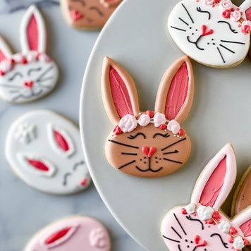 Floral Bunny Cookies with Bonus Easter Eggs Two Ways Supplies & Tutorial by Quiet Corner Cookies