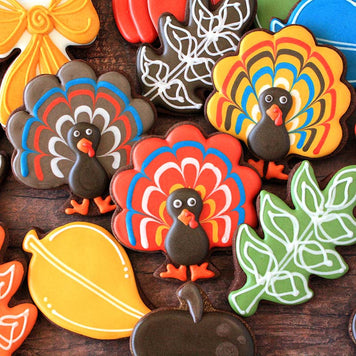 Turkey and Fall Leaves Cookies Supplies and Tutorial by Lila Loa