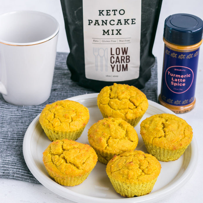 Turmeric Latte Keto Muffins Supplies & Tutorial by Low Carb Yum