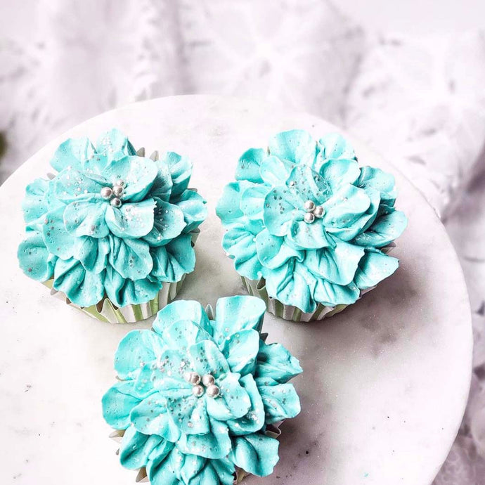 Blue Floral Buttercream Cupcakes Supplies & Tutorial by Sugardust and Sprinkles