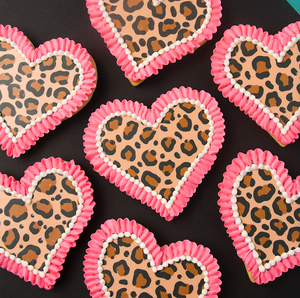 Leopard Print Hearts Cookie Supplies & Tutorial by SweetAmbs