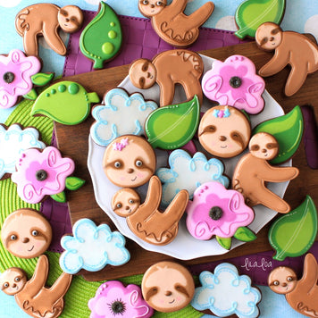 Jungle Sloth & Rose Cookies Supplies & Tutorial by LilaLoa