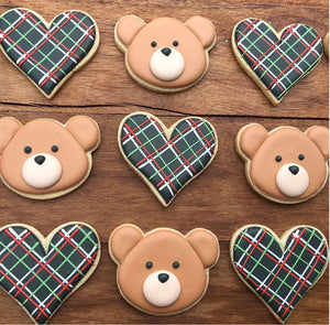 Bear and Heart Cookie Kit by The Painted Pastry (24 cookies)