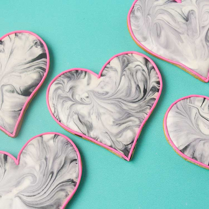 Marbled Hearts Cookies Supplies & Tutorial by SweetAmbs