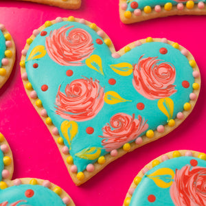 Wet-On-Wet Rose Hearts Cookie Supplies & Tutorial by SweetAmbs