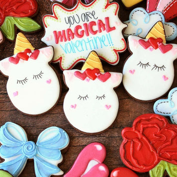 Decorated Valentine Unicorn Sugar Cookies Supplies & Tutorial by LilaLoa