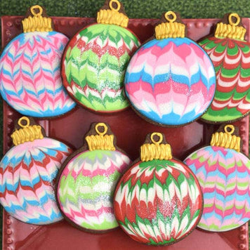 Marbled Christmas Ornament Cookie Supplies and Tutorial by Haniela's