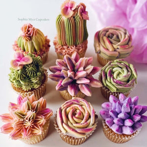 Succulent Cupcake Piping LIVE Class with a Twist with Nina @ Sophia Mya Cupcakes (Saturday, August 15th at 8pm New York EST/ Sunday, August 16th at 10am Australia AEDT)