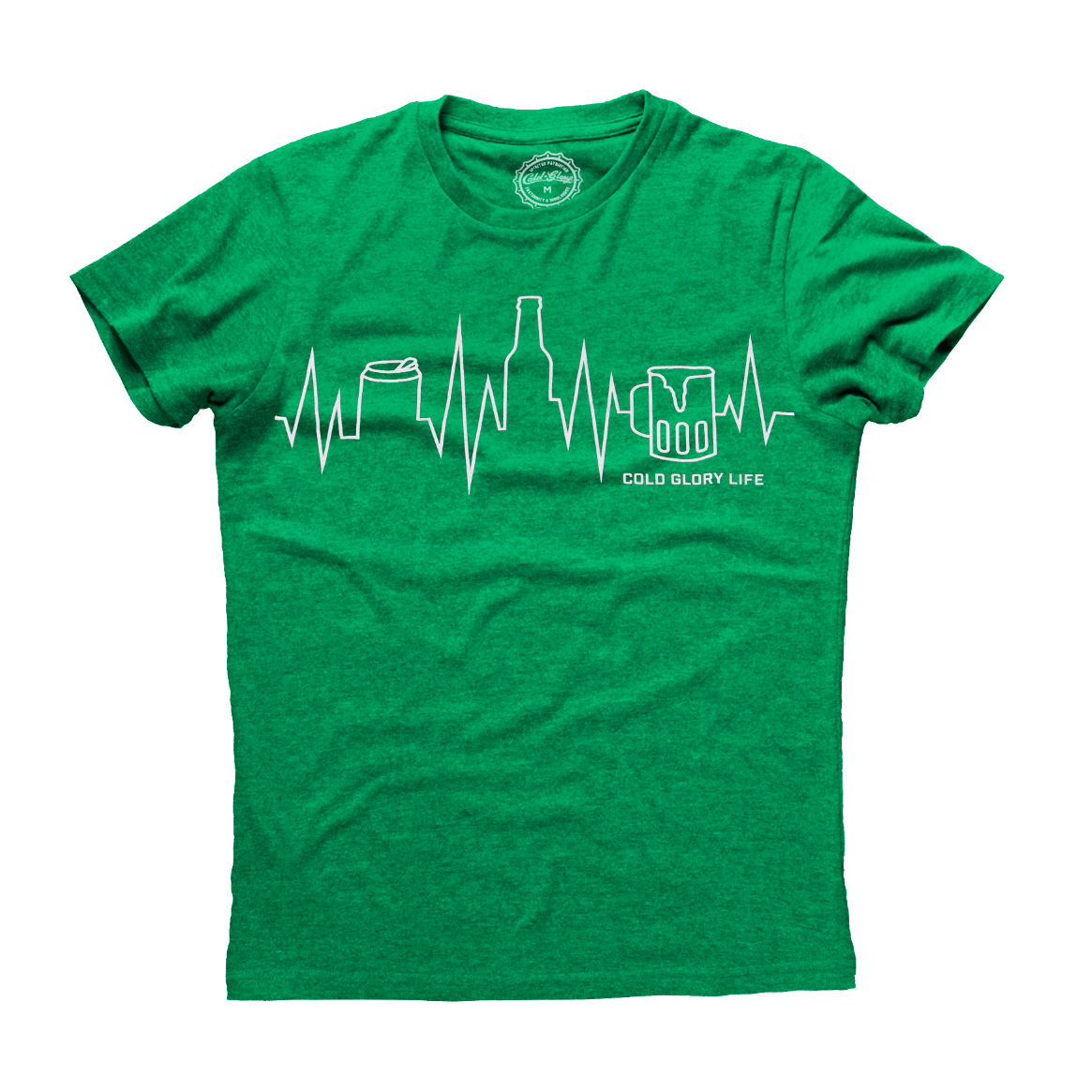 Cold Glory Beer EKG T-Shirt  Kelly Green Heather