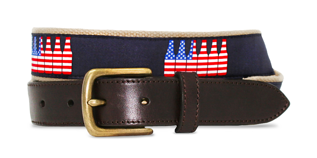 American Flag 6 Pack Belt - Khaki