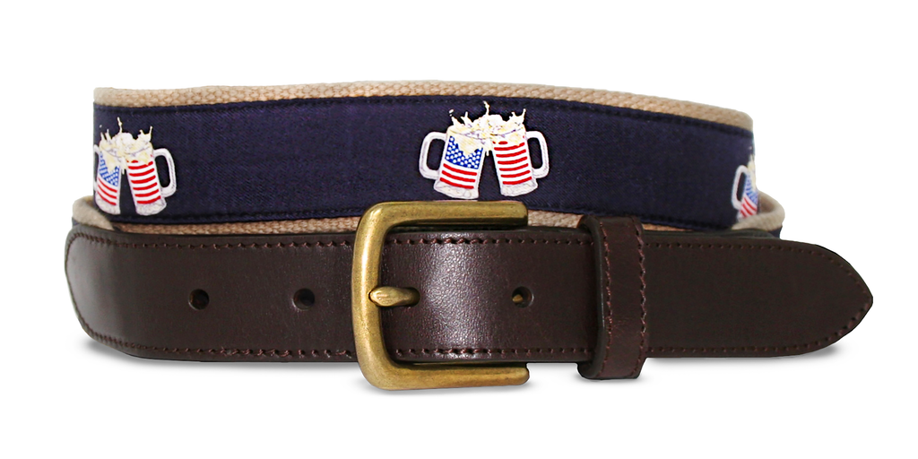 Club Belt-American Flag-Preppy-Beer Mugs-Cheers-Khaki-Cold Glory