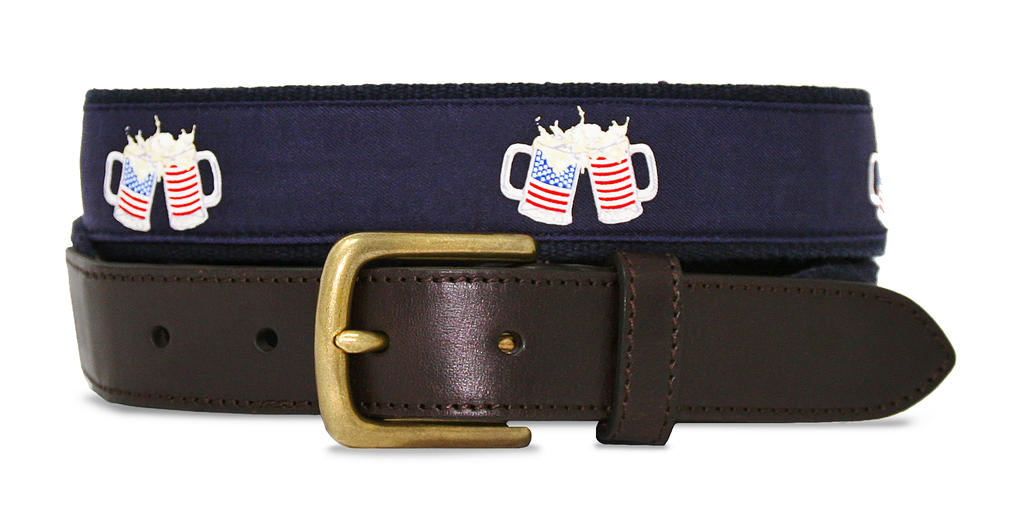 American Flag Beer Mugs Belt - Navy