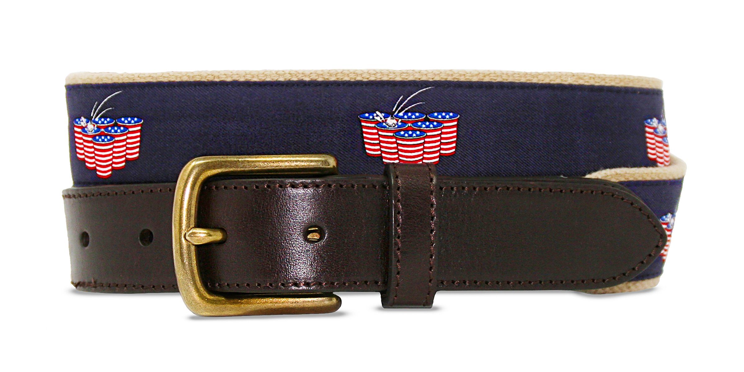 Club Belt-American Flag-Preppy-Beer Pong-Khaki-Cold Glory