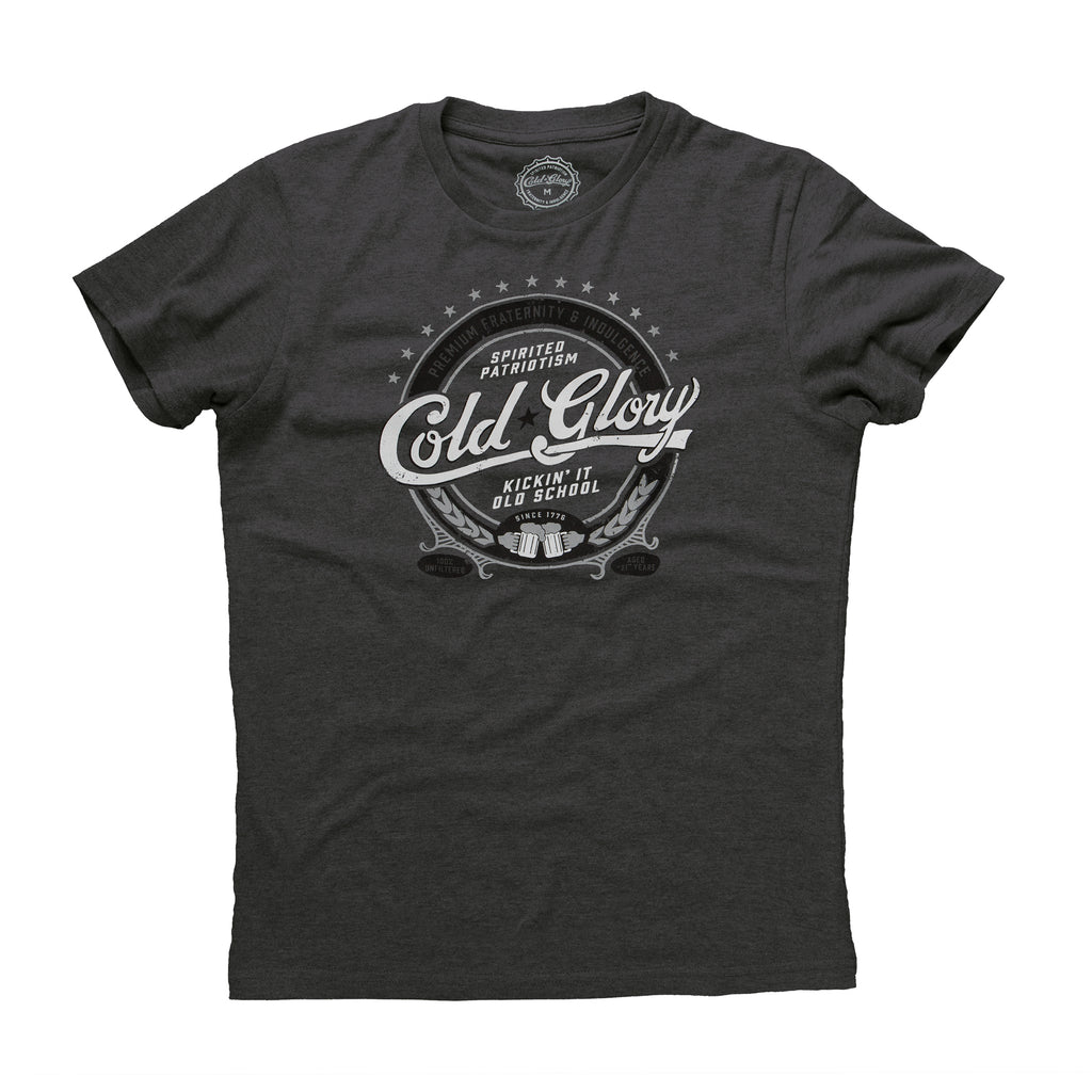 Cold Glory Beer Label T-Shirt  Vintage Black