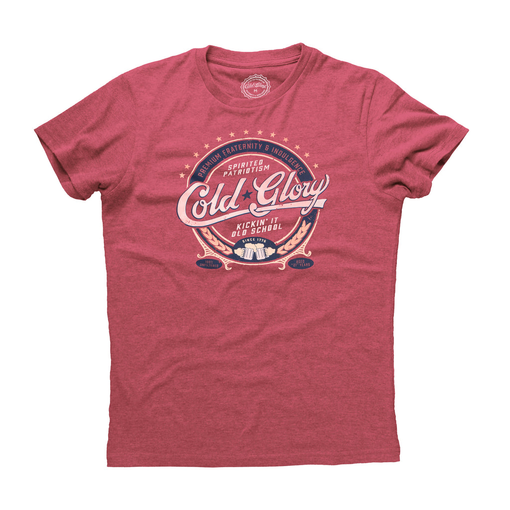 Cold Glory Beer Label T-Shirt  Vintage Red