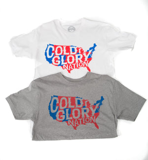 grey and white t-shirts with usa map showing red states vs blue states of cold glory nation
