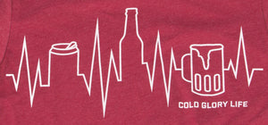 red t-shirt with a beer can, beer bottle and beer mug as a heartbeat, ekg line or city skyline closeup