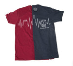 blue/red t-shirt with a beer can, beer bottle and beer mug as a heartbeat, ekg line or city skyline