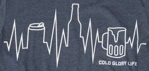 blue t-shirt with a beer can, beer bottle and beer mug as a heartbeat, ekg line or city skyline closeup