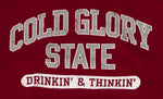 Close-up of Cardinal or Crimson Red and Grey Collegiate Varsity T-shirt. Distressed printing of college or University name and Drinking and Thinking sport.
