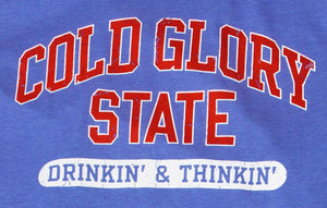 Close-up of Royal Blue and Orange Red Collegiate Varsity T-shirt. Distressed printing of college or university  name and Drinking and Thinking sport.