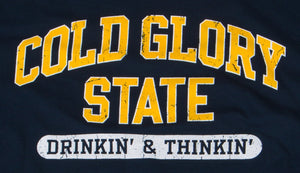 Close-up of Navy and Maize Yellow Collegiate Varsity T-shirt. Distressed printing of college or university  name and Drinking and Thinking sport.