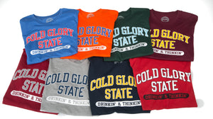 Colorful collegiate varsity t-shirts featuring distressed printing of college name and Drinking and Thinking sport.