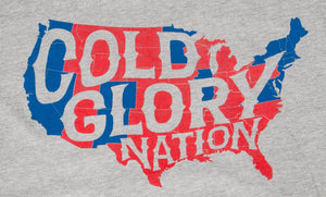 grey t-shirt with usa map showing red states vs blue states of cold glory nation closeup