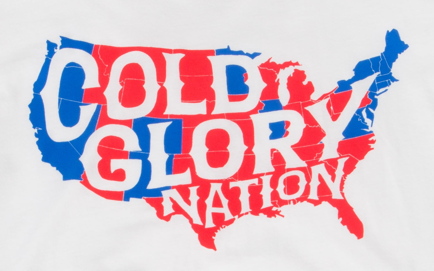 white t-shirt with usa map showing red states vs blue states of cold glory nation closeup
