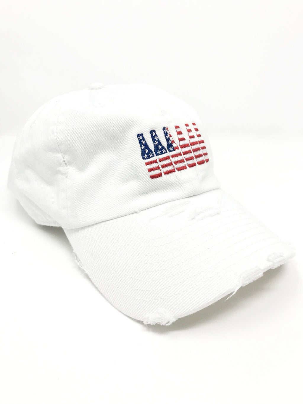 White 6 Pack American Flag Hat