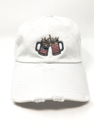 White Cheers American Flag Hat