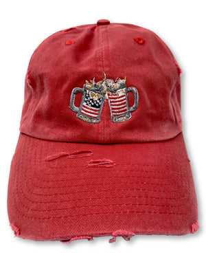 Red Cheers American Flag Hat