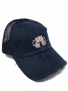 Navy American Flag Trucker Hat