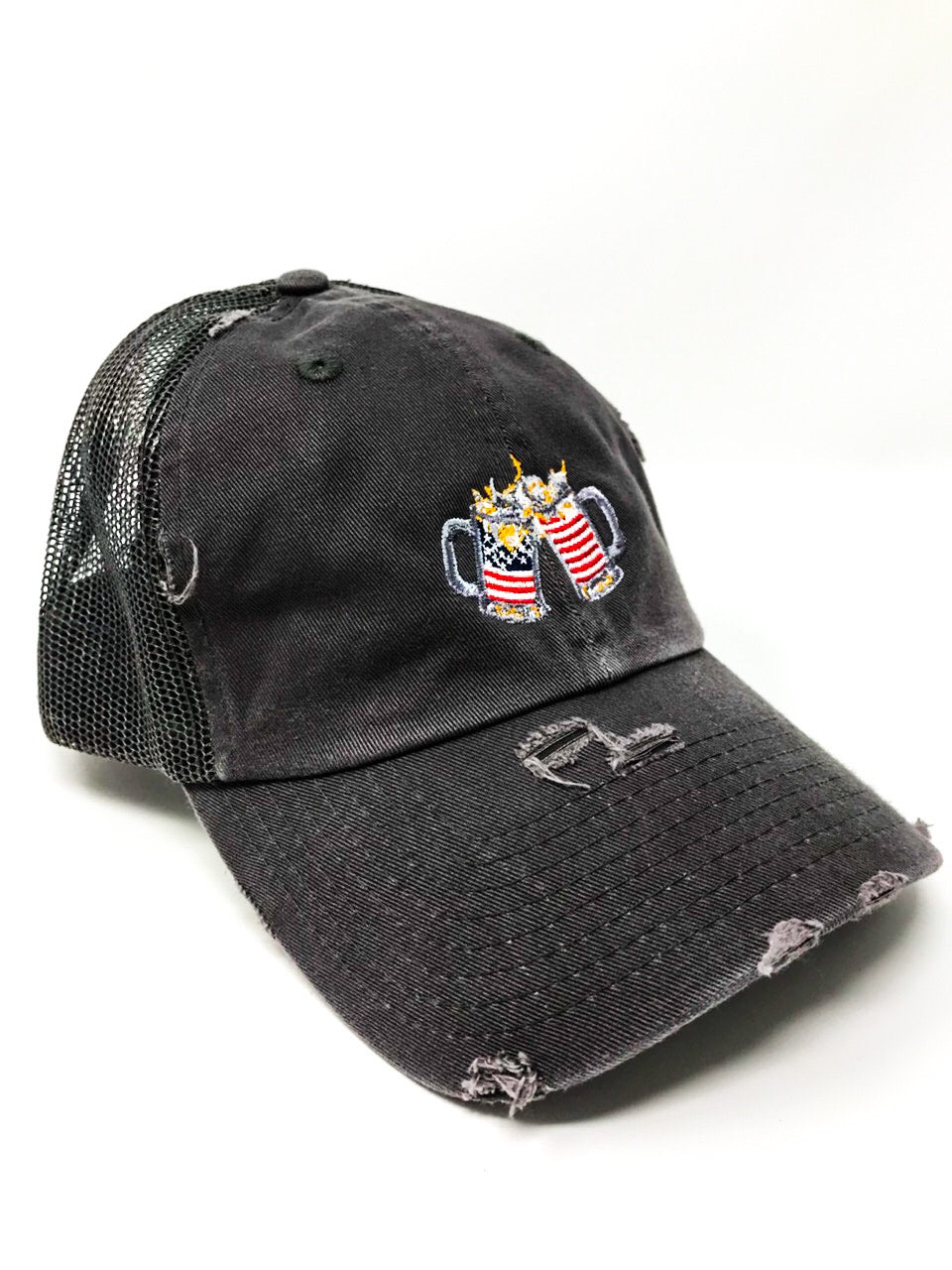 Grey American Flag Trucker Hat
