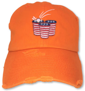 Orange Beer Pong American Flag Hat