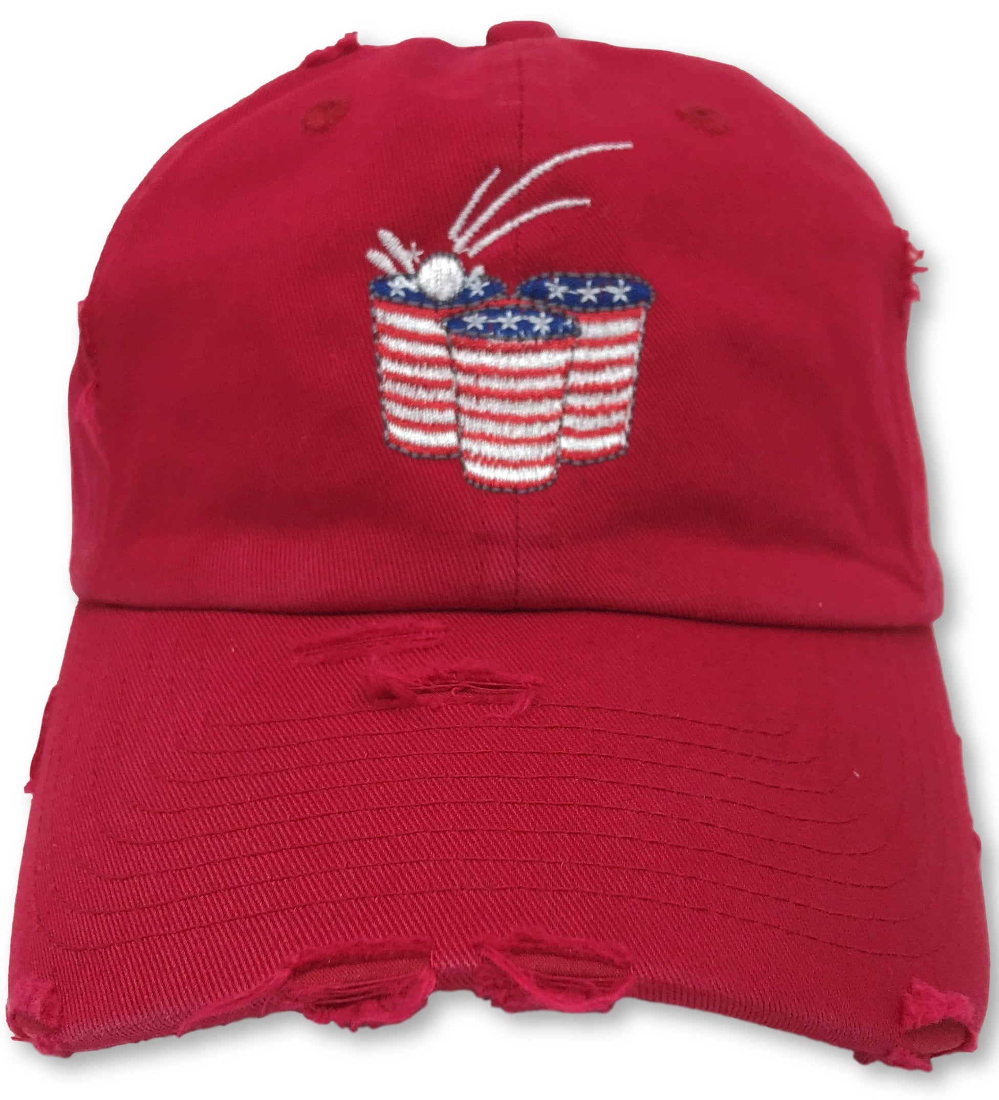 Red Beer Pong American Flag Hat