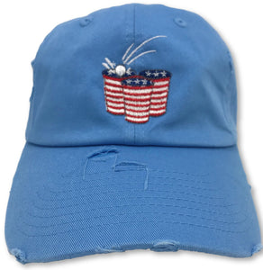Light Blue Beer Pong American Flag Hat