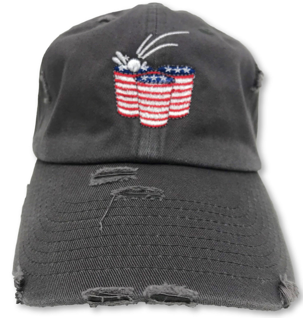 Charcoal Grey Beer Pong American Flag Hat